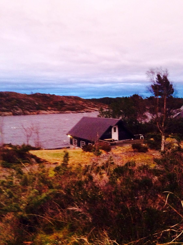 Utsikten fra hytten, ned mot naustet ...