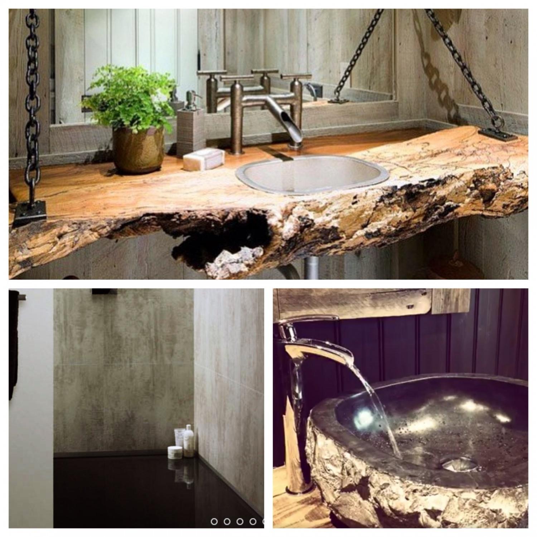 Vil ha en slik vask fra Bali... Rustikke betongvegg(er) og evt lage baderomsmøbelet selv av rekved... Vi får se